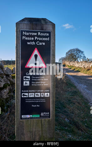 Information sign on Tideswell Lane, a popular Green Lane at Eyam. Peak District National Park, Derbyshire, England. - Stock Image
