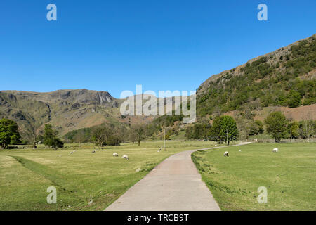 Dovedale and Dove Crag from Sykeside, Lake District, Cumbria, UK - Stock Image