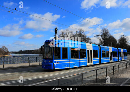 Electric Tram in Stockholm City, Sweden, Europe - Stock Image