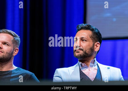Bonn, Germany - June 8 2019: Cas Anvar (Canadian actor - The Expanse) at FedCon 28, a four day sci-fi convention. FedCon 28 took place Jun 7-10 2019. - Stock Image