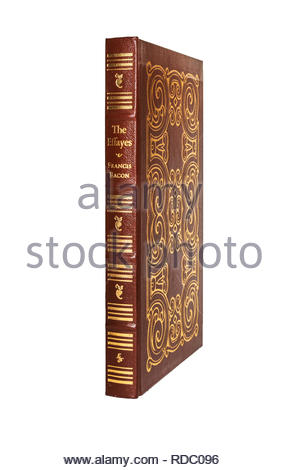 The Easton Press leather-bound edition of The Essayes of Francis Bacon. Isolated on white background. - Stock Image