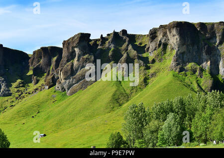 A rocky and mountainous landscape and scenery in Iceland - Stock Image