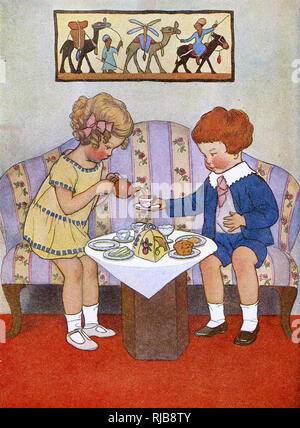 Two children enjoy a very civilised afternoon tea together. - Stock Image