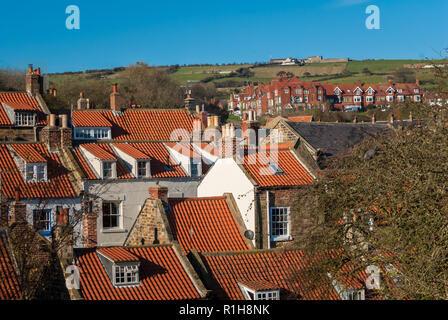 Close rooftops of the fishing village of Robin Hood's Bay in North Yorkshire. - Stock Image