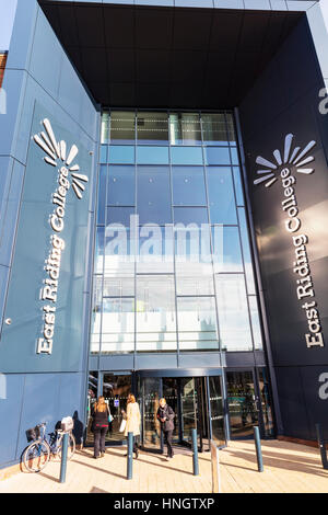 East riding college Beverley building entrance colleges UK England further education college students sign signs - Stock Image