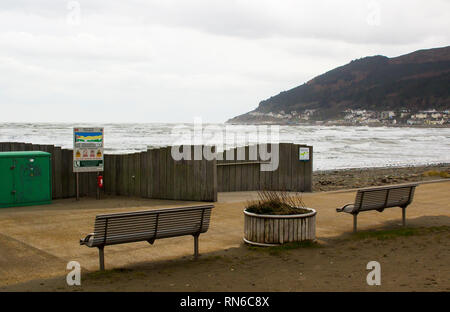 14 December 2019 The modern seafront and public footpath at Newcastle County Down at the foot of the Mourne Mountains - Stock Image