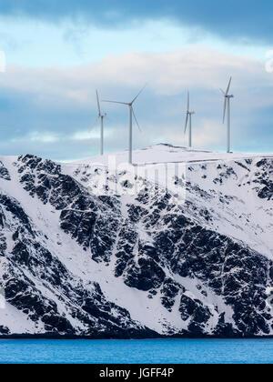 Wind turbines on Havøya Island in Finnmark County, northern Norway. - Stock Image