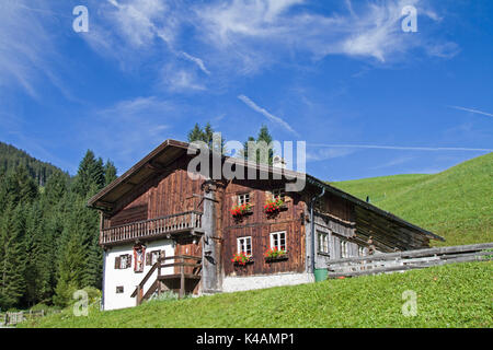 Idyllic Old Farmhouse Near Berwang In Tyrol - Stock Image