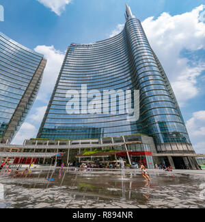 Square view of the UniCredit Tower in Milan, Italy. - Stock Image