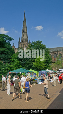 Stalls for the Florette Festival Market in Dam Street with the main spire of Lichfield Cathedral on Saturday 6th - Stock Image