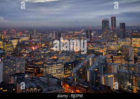 Manchester city centre skyline view across the rooftops from Salford 100 Greengate, Town hall - Stock Image