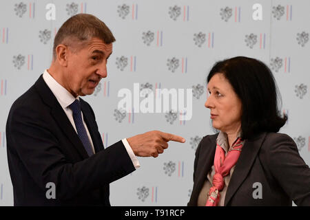 Prague, Czech Republic. 16th May, 2019. The Czech Republic has no alternative to its EU membership and it is not looking for any, L-R Czech Prime Minister Andrej Babis and Czech European commissioner Vera Jourova said at the conference on the 15 years of Czech EU membership in Prague, Czech Republic, May 16, 2019. Credit: Roman Vondrous/CTK Photo/Alamy Live News - Stock Image