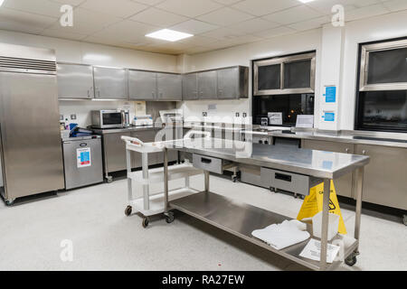 Stainless steel cupboards and worktops in the kitchen of a hospital ward. - Stock Image