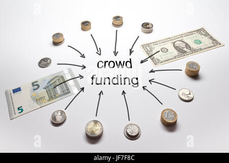 Crowd funding with european and american money, Euro, Dollar; Pound, Francs and Crowns in coins and banknotes - Stock Image