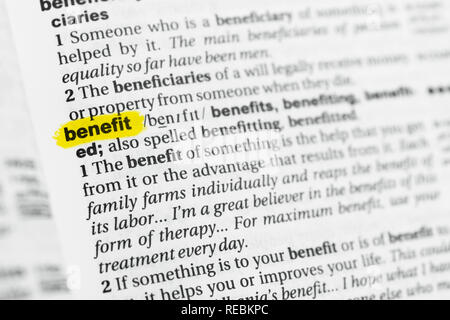 Highlighted English word 'benefit' and its definition at the dictionary. - Stock Image