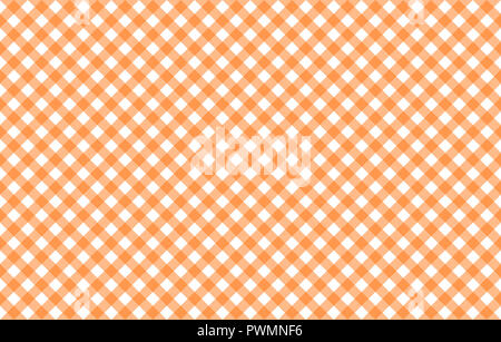 Diagonal Gingham-like table cloth with pumpkin orange and white checks, symmetrical overlapping stripes in a single solid color - Stock Image