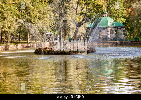 18 September 2018: St Petersburg, Russia - The Sun Fountain, so called because its water spouts look like the rays of the sun, in Peterhof Palace Foun - Stock Image