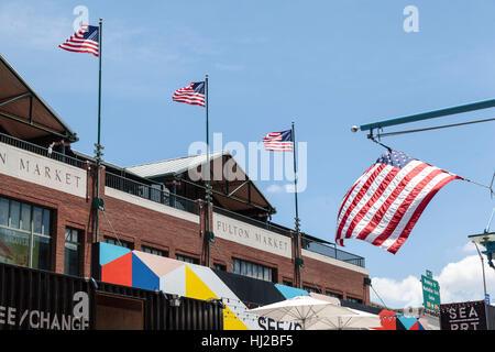 Fulton Market Lower Manhattan New York City - Stock Image