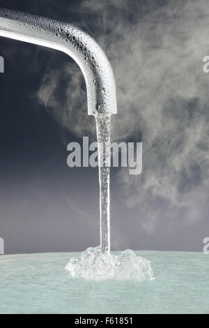 Tap with Running Water - Stock Image
