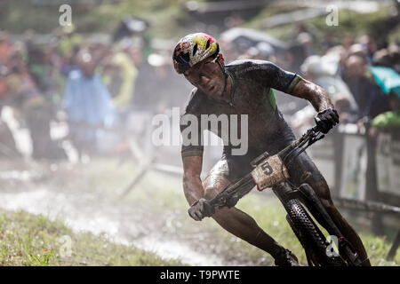Henrique Avancini of Brazil competes at the XC men race of UCI MTB World Cup in Albstadt, Germany, May 19, 2019. (CTK Photo/Michal Cerveny) - Stock Image