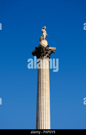 Nelsons Column, Trafalgar Square, London, England, United Kingdom - Stock Image