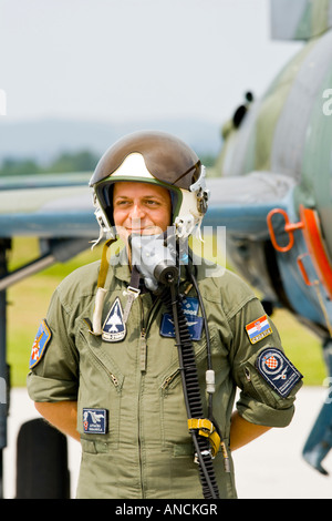 Croatian Air Force MiG-21 BISD fighter pilot - Stock Image