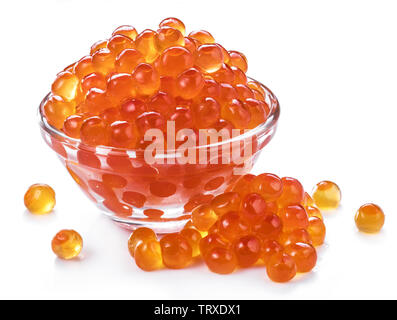 Red caviar in the bowl on white background. Macro picture. - Stock Image