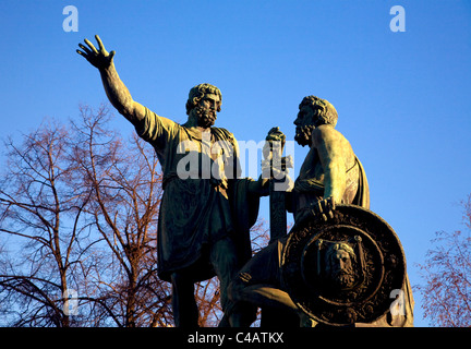 Moscow, Russia; The Minin-Pozharsky Monument just in front of St.Basil's Cathedral on Red Square - Stock Image