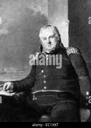 Jonathan Williams (1751-1815) on engraving from 1834. American businessman, military figure, politician and writer. - Stock Image