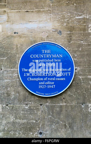 A Blue plaque in Nottingham where The Countryman magazine was published. It was created by J.W. Robertson Scott. - Stock Image