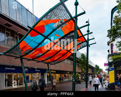 Cleveland Centre Entrance Canopy Linthorpe Road pedestrianised shopping Centre in Middlesborough Town Centre Cleveland England - Stock Image