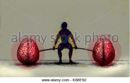 Man exercising with human brain barbell - Stock Image