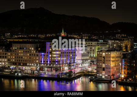 Bergen city centre by night,Norway. - Stock Image