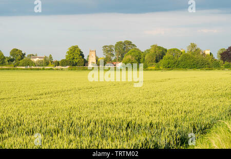 View of Slingsby village across farmland from Fryton, North Yorkshire, England, UK - Stock Image