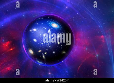 Conceptual illustration of a wormhole. A wormhole (or Einstein-Rosen bridge) is a theoretical 'tunnel' through spacetime, allowed by the theory of gen - Stock Image
