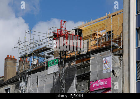 France, Nantes city, renovation and elevation of a residential building with a wooden frame, extension. - Stock Image