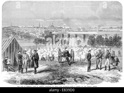 American Civil war Camp of Federal prisoners on Belle Isle Richmond 1864 - Stock Image