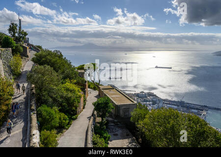 Walking trails with a view of the ocean; Gibraltar - Stock Image
