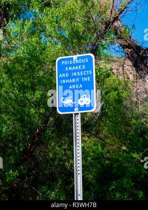 USA, Arizona. Common wildlife warning sign. Credit as: Wendy Kaveney / Jaynes Gallery / DanitaDelimont.com - Stock Image