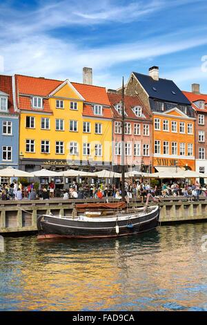 The boat in Nyhavn Canal, Copenhagen old town, Denmark - Stock Image