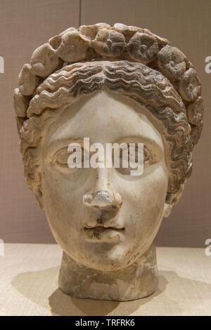 Marble Head. 2nd-1st Century BC Jordan Archeological Museum - Stock Image