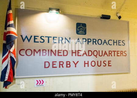 Liverpool Exchange Flags Western Approaches HQ WWII Second World War Derby House museum bunker Citadel Fortress Citadel Fortress old entrance sign - Stock Image