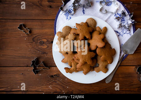 Christmas cookies on plate - Stock Image