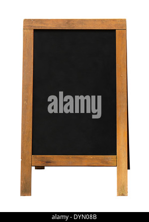 Blackboard A frame sign with wooden frame and blank area for your sales message or offer. - Stock Image