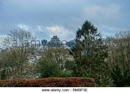 Launceston Castle seen from St. Stephen's Hill - Stock Image
