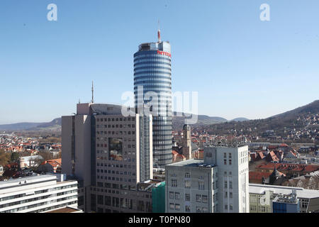 Jena, Germany. 21st Mar, 2019. The Intershop Tower, headquarters of Intershop Communications AG in the middle of the Old Town. Credit: Bodo Schackow/dpa-Zentralbild/ZB/dpa/Alamy Live News - Stock Image