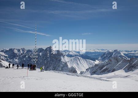 geography / travel, Germany, Bavaria, Upper Bavaria, Zugspitze (peak), Zugspitze plateau, Alps panorama, Additional - Stock Image