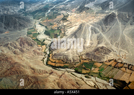 Aerial View of Mountain Valley Near Nasca Peru - Stock Image