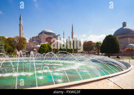 Istanbul, Turkey - August 14, 2018: Daytime view of the world's famous Hagia Sophia museum from Sultan Ahmet Park on August 14, 2018 in Istanbul, Turk - Stock Image