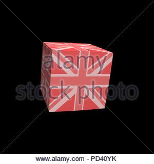 Digital Illustration - Pink Union Jack flag cubed - Stock Image